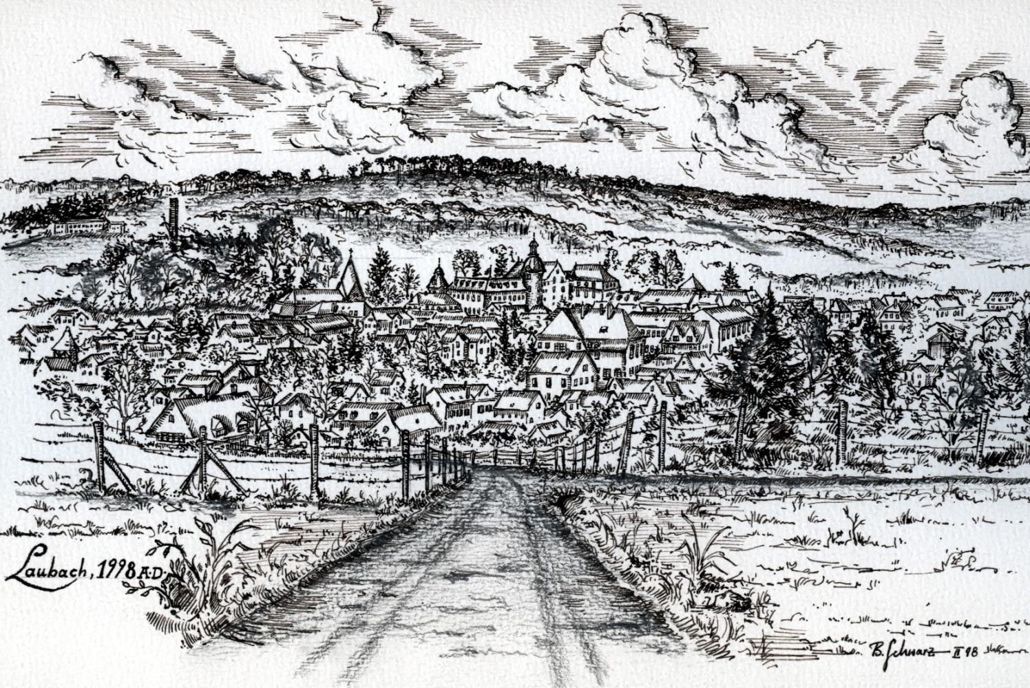 Laubach A.D. 1998 vom Panoramaweg aus gezeichnet - Tusche, Bleistift