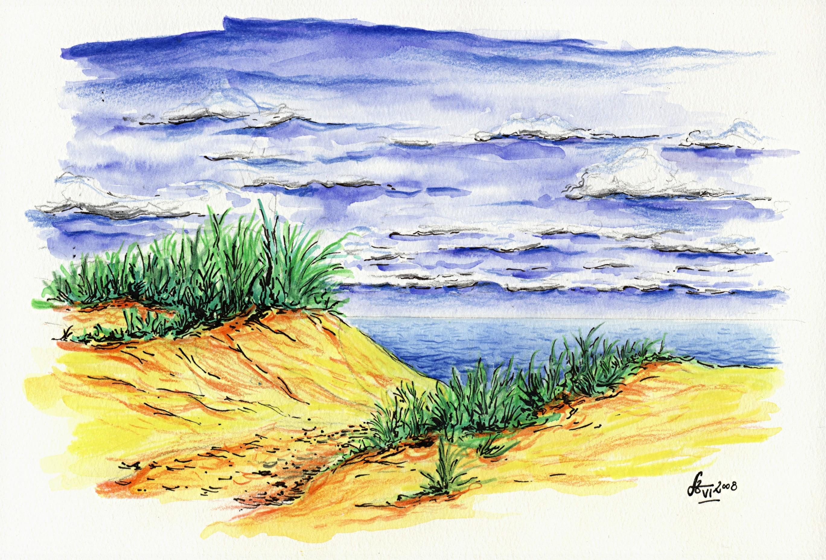 Strandzugang irgendwo auf Langeoog - Mischtechnik Tusche / Bleistift / Aquarell
