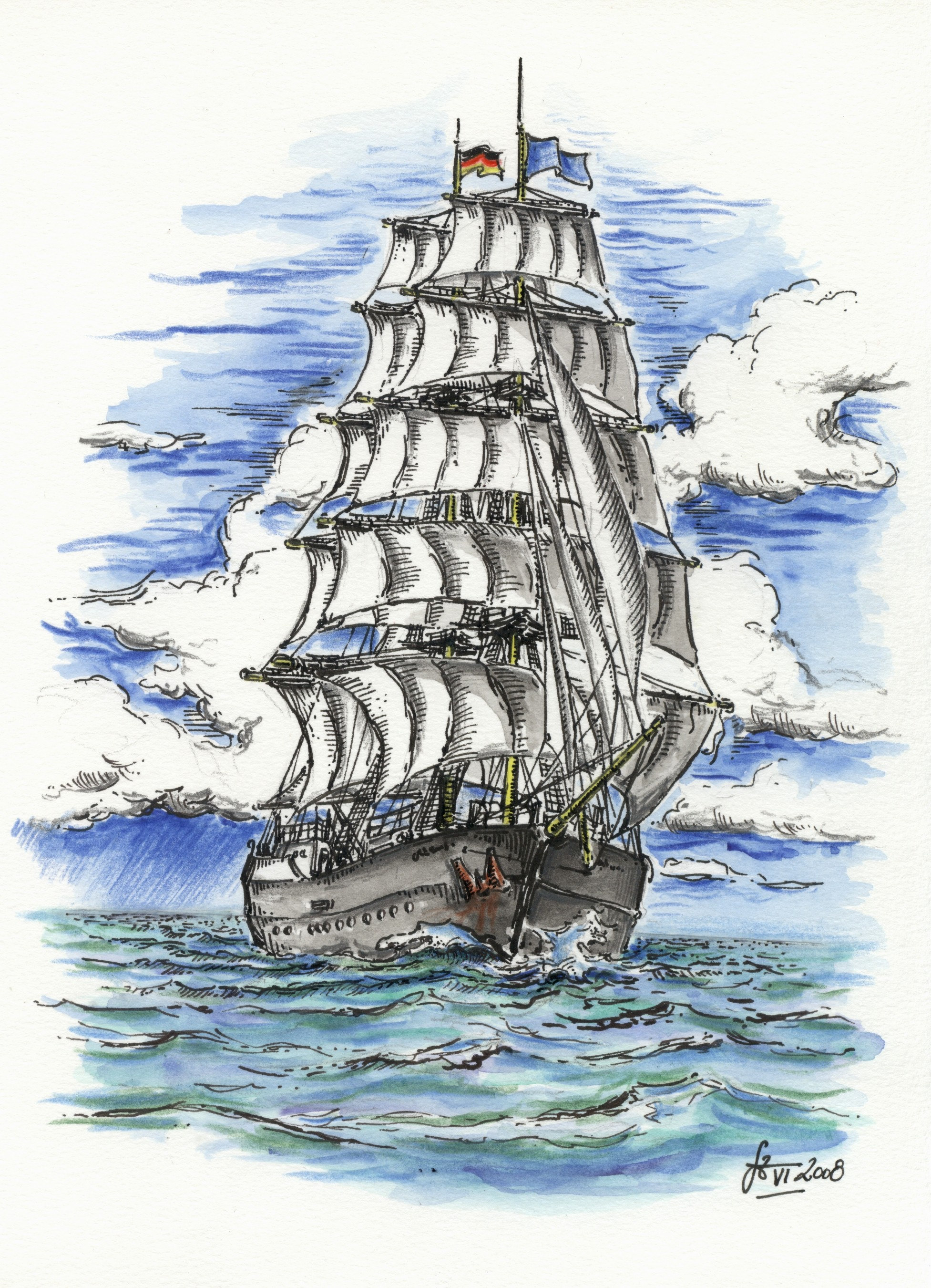 Segelschiff - Mischtechnik Tusche / Aquarell