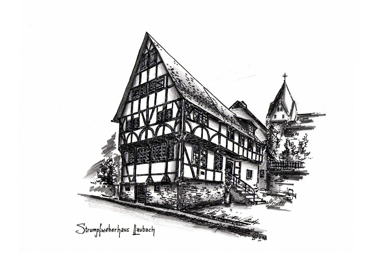 Strumpfweberhaus - Tusche / Bleistift